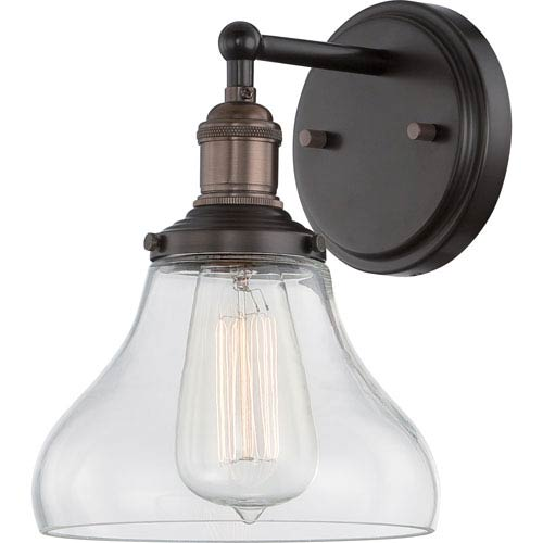 251 First Grace Bronze One-Light Bath Sconce with Bell Shaped Clear Glass Shade