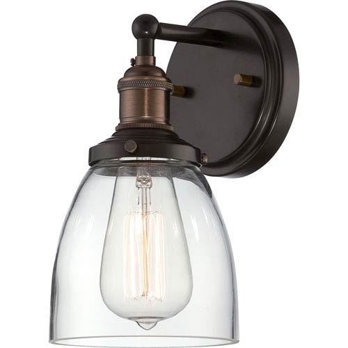 Grace Bronze One-Light Bath Sconce with Clear Glass Shade