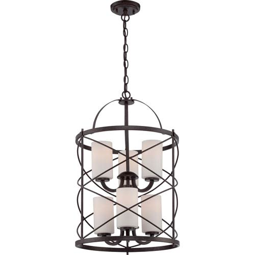 251 First Isles Bronze Six-Light Pendant with Etched Opal Glass Shade