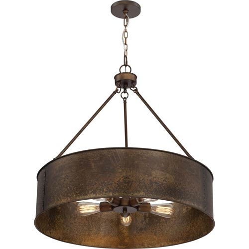 River Station Weathered Brass Five-Light Industrial Drum Pendant