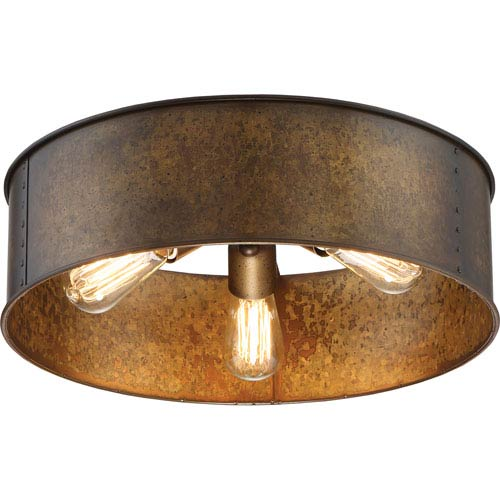 River Station Weathered Brass Three-Light Industrial Drum Flush Mount