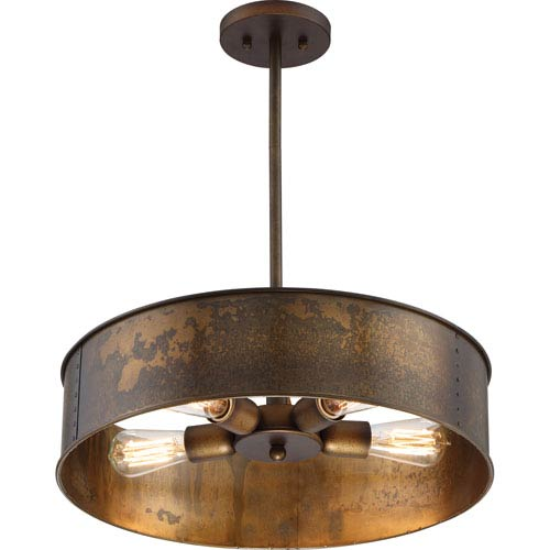 River Station Weathered Brass Four-Light Industrial Drum Pendant