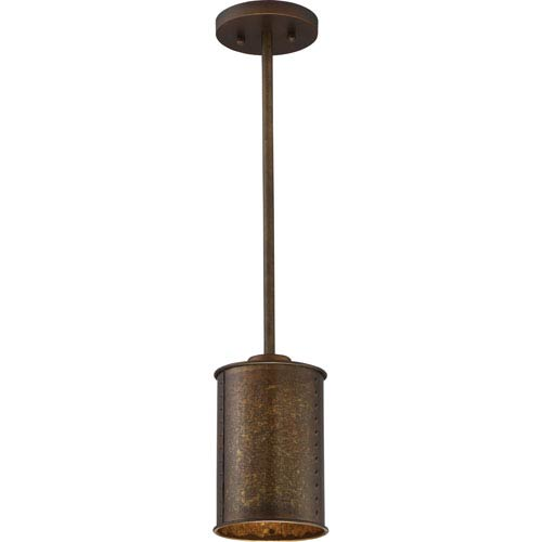 251 First River Station Weathered Brass One-Light Industrial Mini-Pendant