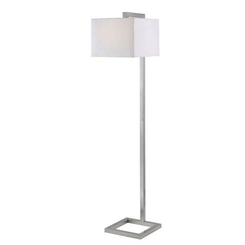Loring Brushed Steel One-Light Floor Lamp with White Square Shade