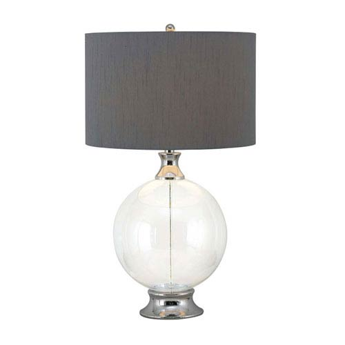 Linden One-Light Chrome and Glass Table Lamp with Gray Shade