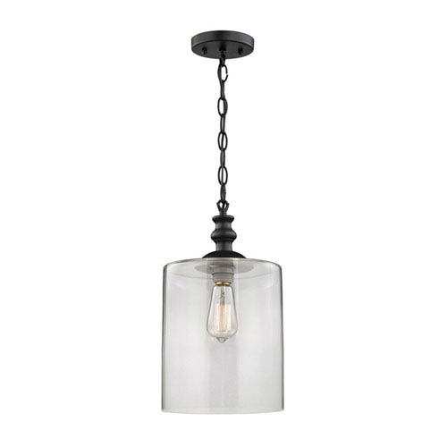 Quinn Rubbed Bronze One-Light Glass Cylinder Pendant