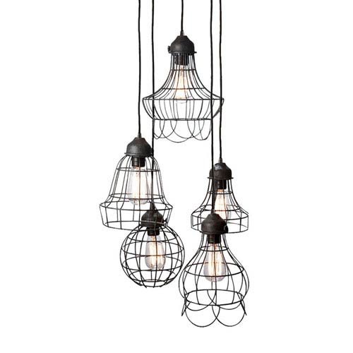 Hayden Brown Five-Light Wire Cage Mini-Pendant