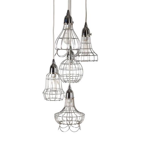 Hayden Silver Five-Light Wire Cage Mini-Pendant