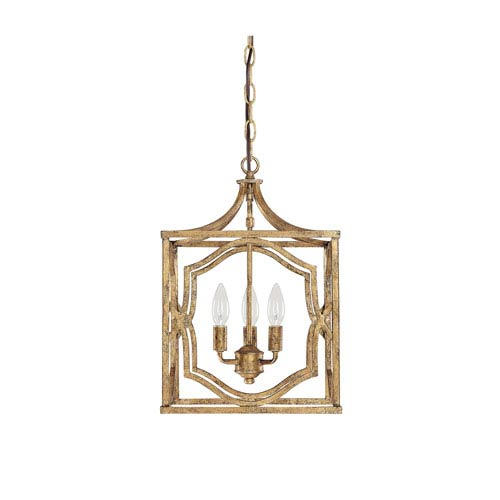 Linden Antique Gold Three-Light Lantern Pendant