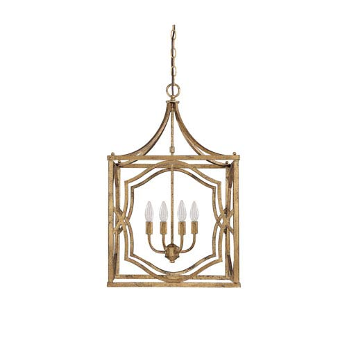 251 First Linden Antique Gold Four-Light Lantern Pendant