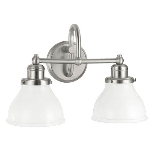Grace Brushed Nickel Two-Light Bath Vanity with Milk Glass Shade