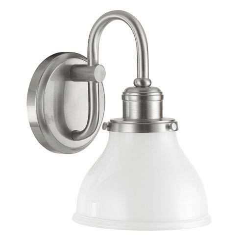 Grace Brushed Nickel One-Light Bath Sconce with Milk Glass Shade