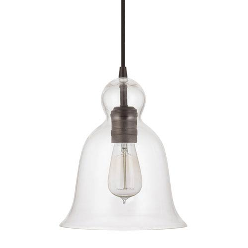 Grace Bronze One-Light Bell Shaped Mini-Pendant with Clear Glass