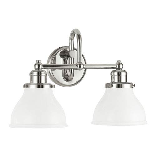 251 First Grace Polished Nickel Two-Light Bath Vanity with Milk Glass Shade