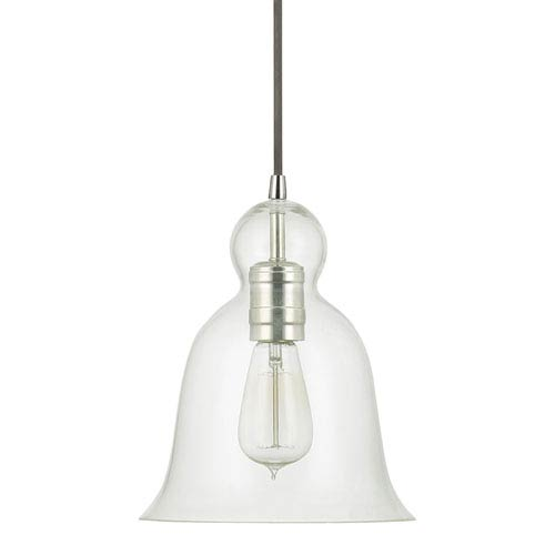 Grace Polished Nickel One Light Bell Shaped Mini Pendant With Clear Glass