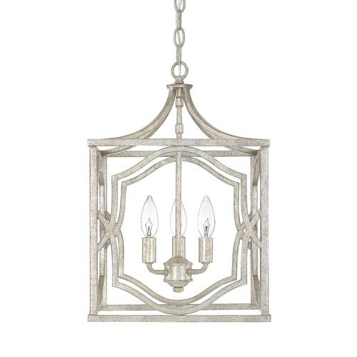 251 First Linden Antique Silver Three-Light Lantern Pendant