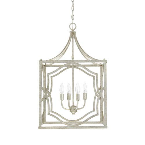 Linden Antique Silver Four-Light Lantern Pendant