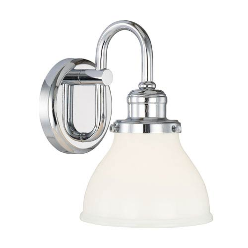 251 First Grace Chrome One-Light Bath Sconce with Milk Glass Shade