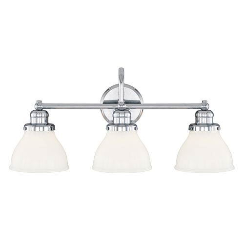Grace Chrome Three-Light Vanity with Milk Glass Shade