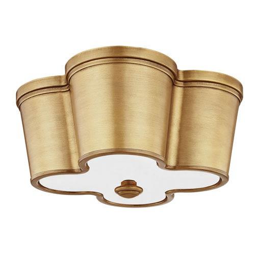 251 First Wellington Aged Brass Two-Light Framed Flush Mount