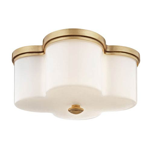 Wellington Aged Brass Two-Light Flush Mount