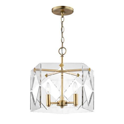 Vivian Aged Brass Three-Light Pendant