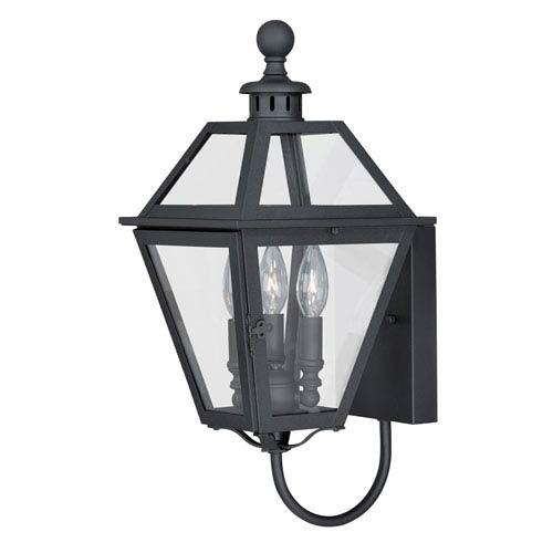 Bryant Textured Black 10-Inch Three-Light Outdoor Wall Mount