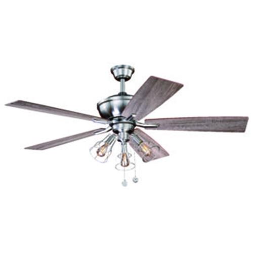 Lex Satin Nickel 52-Inch Three-Light Ceiling Fan