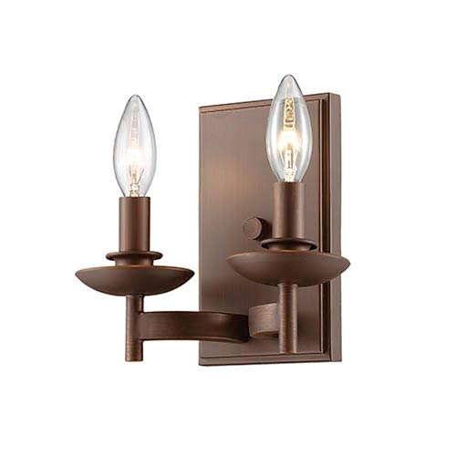 Ava Rubbed Bronze Two-Light Wall Sconce