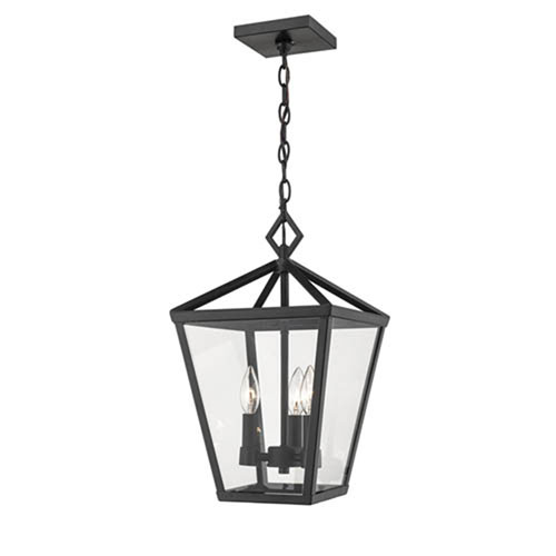 251 First Nora Powder Coat Black Four Light Outdoor Pendant