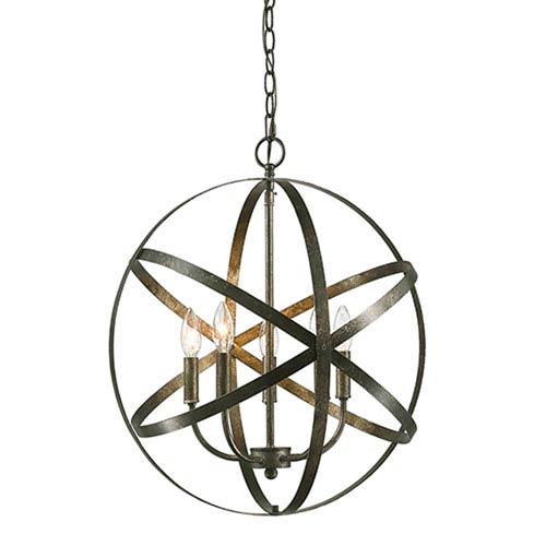 Elle Antique Silver Five-Light Pendant