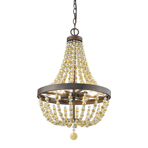 Isabella Rubbed Bronze 16-Inch Four-Light Chandelier