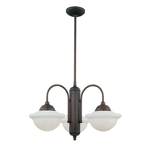 Fulton Rubbed Bronze Three-Light Outdoor Chandelier