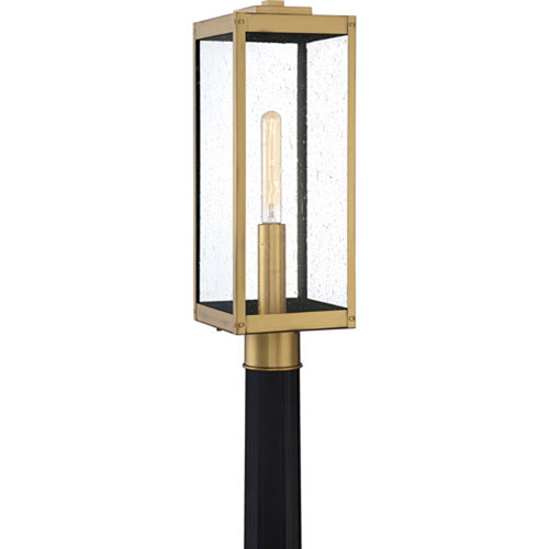 Pax Antique Brass One-Light Outdoor Post Mount with Seedy Glass