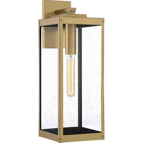 Pax Antique Brass Seven-Inch One-Light Outdoor Wall Mount with Seedy Glass
