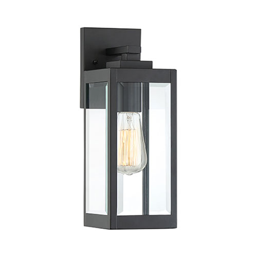 Pax Black 14-Inch One-Light Outdoor Wall Lantern with Beveled Glass