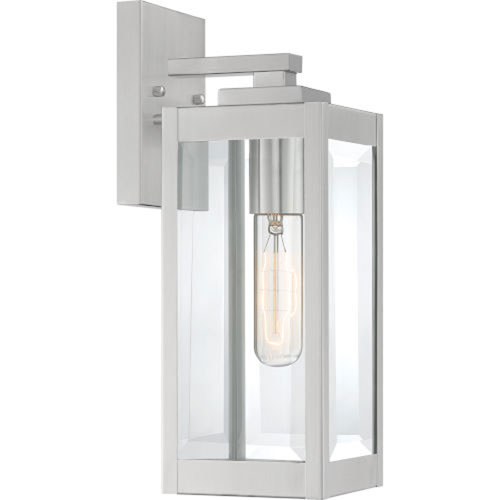 Pax Stainless Steel 14-Inch One-Light Outdoor Lantern with Beveled Glass