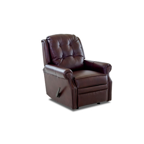 Wellington Walnut Leather Reclining Rocking Chair
