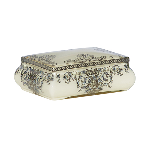 Filigree Cream and Silver Decorative Box