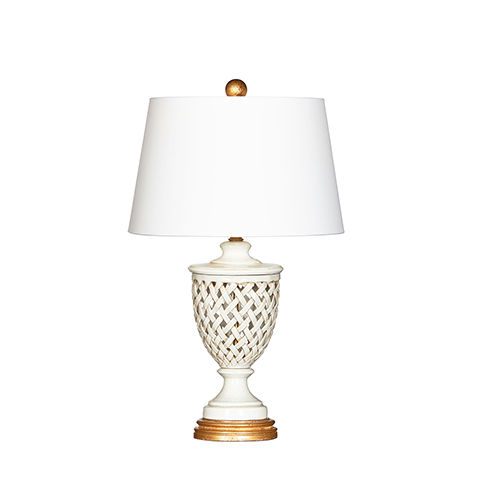 Blanc Calibria Cream and Gold One-Light Table Lamp