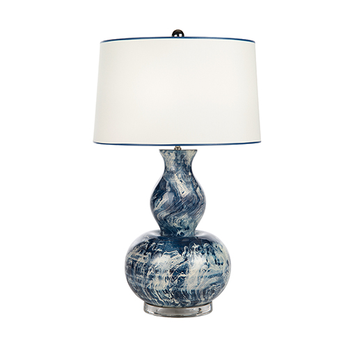 Blue Monterey Blue and White One-Light Table Lamp