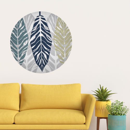 Parchment Leaves I 30 x 30 Inch Circle Wall Decal
