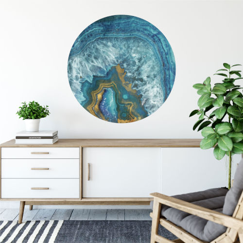Blue and Gold Agate 30 x 30 Inch Circle Wall Decal