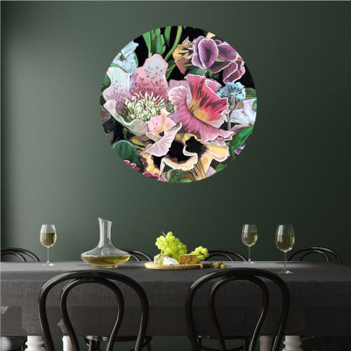 Contrasting Blooms I 30 x 30 Inch Circle Wall Decal