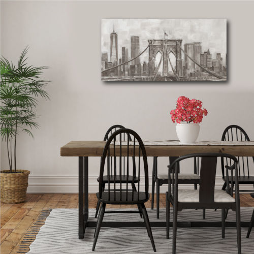 Charcoal Brooklyn Bridge I 24 In. x 48 In. Gallery Wrapped Canvas