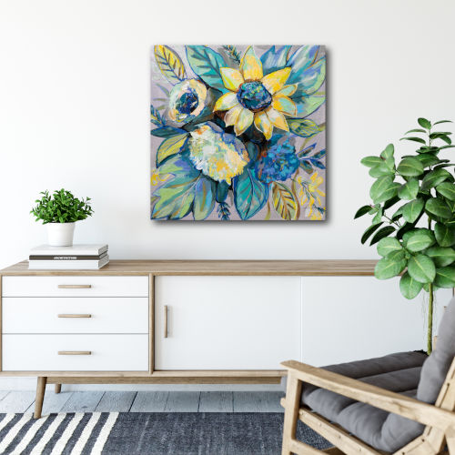 Sage and Sunflowers I Gallery Wrapped Canvas