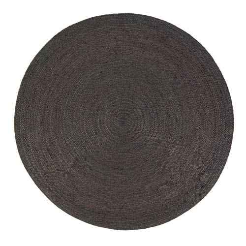 Kerala Gray Jute Round: 4 Ft. Area Rug
