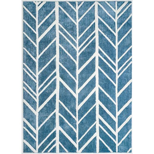 Alder Blue and Ivory Rectangular: 5 Ft x 7 Ft Rug