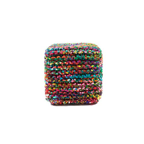 Anji Mountain Bamboo Rugs Rainbow Connection 18 x 18 In. Cube Pouf