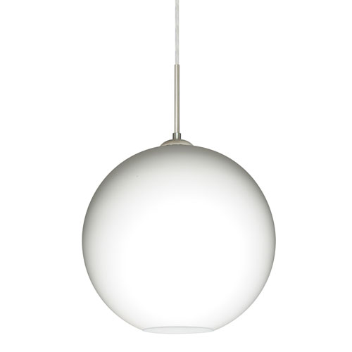 Coco Satin Nickel One-Light LED Pendant With Opal Matte Glass